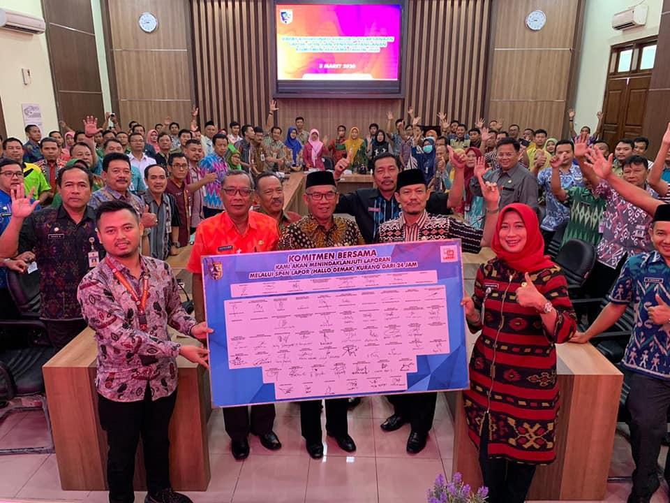 Dindagkop Ukm Kab. Demak Ikuti Rakor Evaluasi Lapor SP4N dan Penandatanganan Komitmen Bersama Tahun
